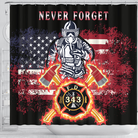 Image of 1stIceland American Firefighters Shower Curtain 9.11.01 Memorial K8 - 1st Iceland