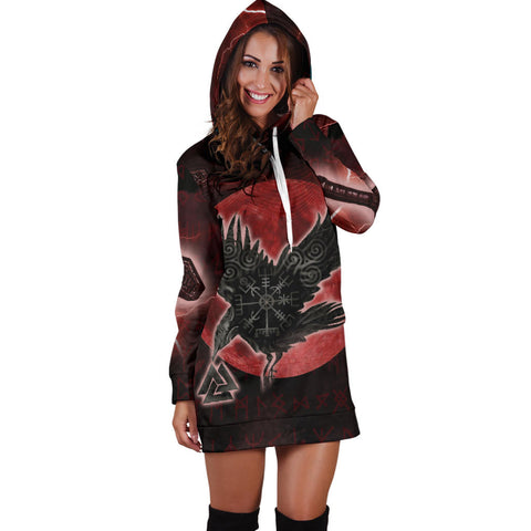 Image of 1stIceland Viking Hoodie Dress, Raven Helm Of Awe Valknut Mjolnir Rune TH70 - 1st Iceland
