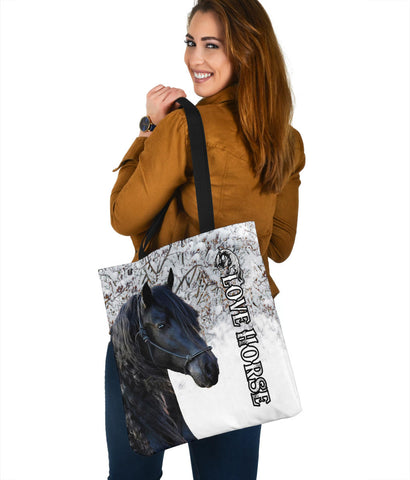 1stIceland Beautiful Friesian Horse Tote Bag TH12 - 1st Iceland