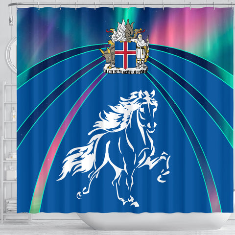 Image of 1stIceland Pullover Shower Curtain, Icelandic Horse Coat Of Arms Northern Lights K4 - 1st Iceland