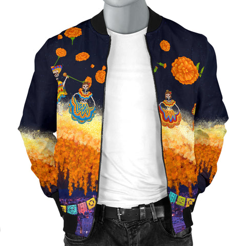 Image of 1stIceland Mexican Día de Muertos Men Bomber Jacket Cempasúchil Flowers Bridge K8 - 1st Iceland