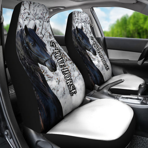 1stIceland Beautiful Friesian Horse Car Seat Covers TH12 - 1st Iceland