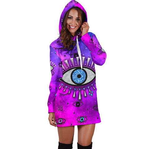 1stIceland Evil Eye Women Hoodie Dress Simple Style - Pink K8 - 1st Iceland