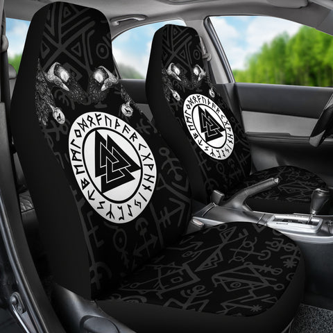 1stIceland Viking Car Seat Covers, Fenrir Skoll And Hati Valknut Raven TH00 - 1st Iceland