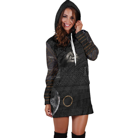 Image of 1stIceland Vikings Hoodie Dress, New Valknut 3D Viking Armour Th00 - 1st Iceland