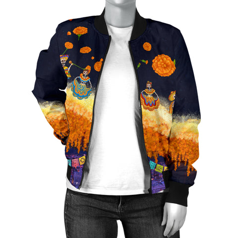 Image of 1stIceland Mexican Día de Muertos Women Bomber Jacket Cempasúchil Flowers Bridge K8 - 1st Iceland