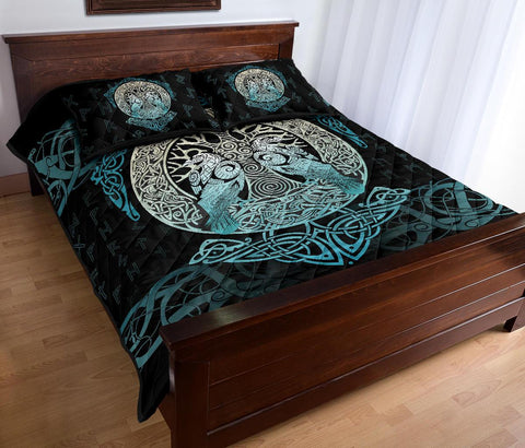 Image of 1stIceland Viking Quilt Bed Set, Yggdrasil Ravens Rune A7 - 1st Iceland