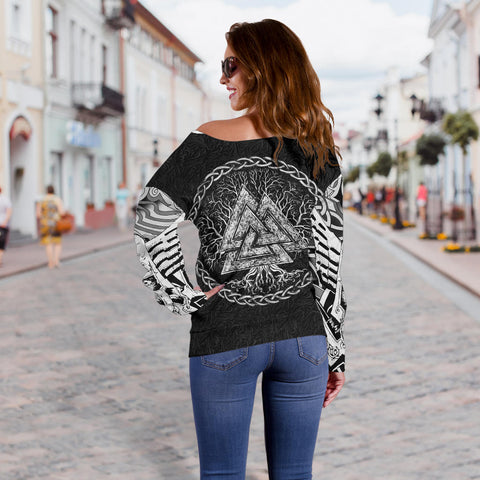 1stIceland Viking Off Shoulder Sweater, Fenrir Skoll And Hati Valknut TH00 - 1st Iceland
