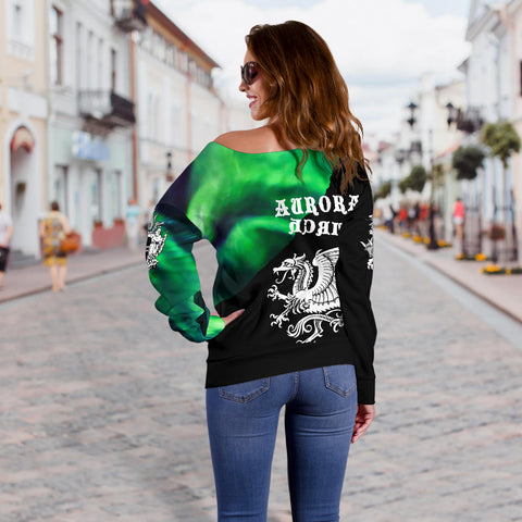 1stIceland Off Shoulder Sweater, Dragon Aurora Iceland Coat Of Arms K7 - 1st Iceland