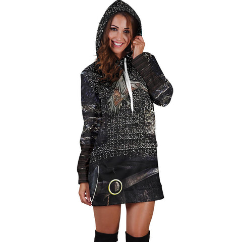 1stIceland Vikings Hoodie Dress, Raven 3D Armour Th00 - 1st Iceland