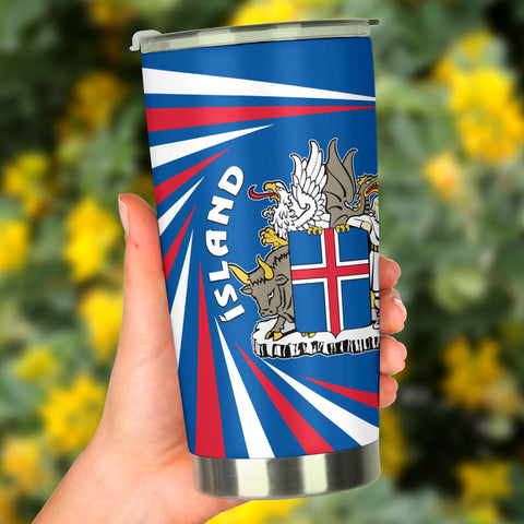 1stIceland Iceland Tumbler Coat Of Arms Creative Vibes - Blue K8
