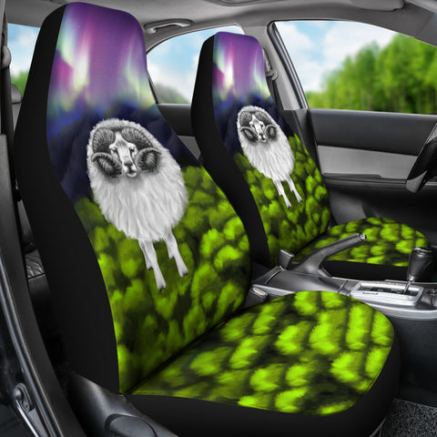 Image of 1stIceland Car Seat Covers, Icelandic Sheep Northern Lights K4 - 1st Iceland