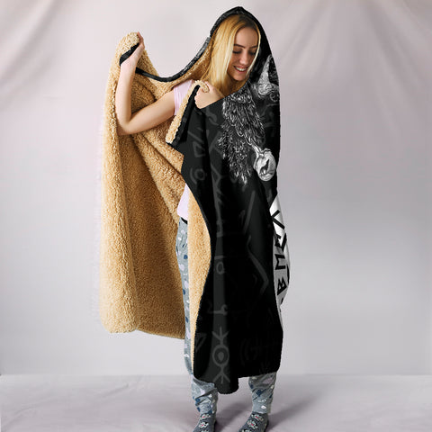 Image of 1stIceland Viking Hooded Blanket, Fenrir Skoll And Hati Valknut Raven TH00 - 1st Iceland