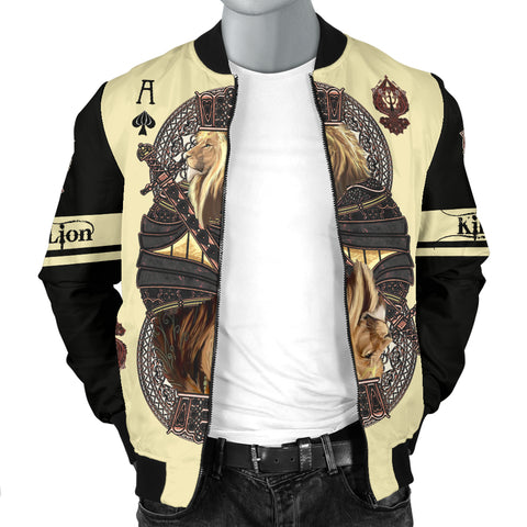 1stIceland King Ace Spade Lion Poker Men Bomber Jacket TH12 - 1st Iceland
