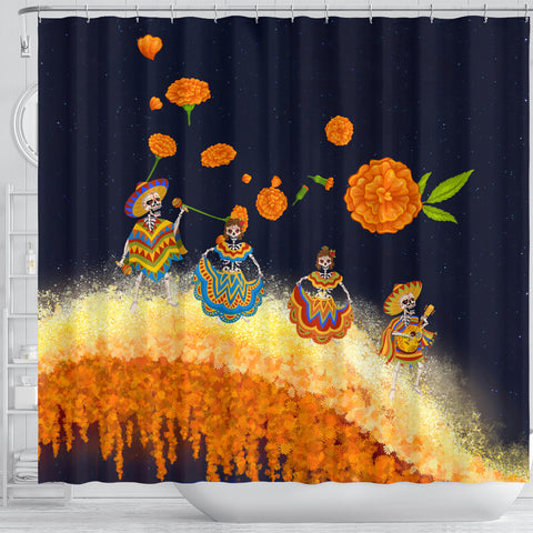 Image of 1stIceland Mexican Día de Muertos Shower Curtain Cempasúchil Flowers Bridge K8 - 1st Iceland