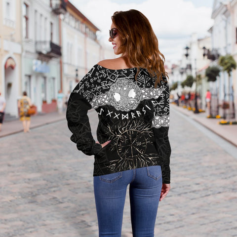 1stIceland Viking Women's Off Shoulder Sweater - Askr Yggdrasils Runes K7 (Black) - 1st Iceland