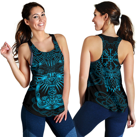 1stIceland Viking Mjolnir Women Racerback Tank Celtic Raven Version Blue K13 - 1st Iceland