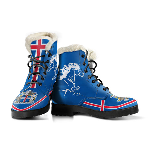 Image of 1stIceland Faux Fur Leather Boots, Icelandic Horse Flag Coat Of Arms K4 - 1st Iceland