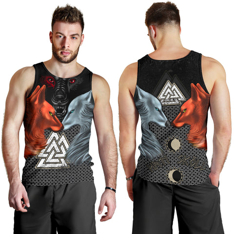 1stIceland Viking Men Tank Top, Hati and Skoll Valknut ChainMail K13 - 1st Iceland