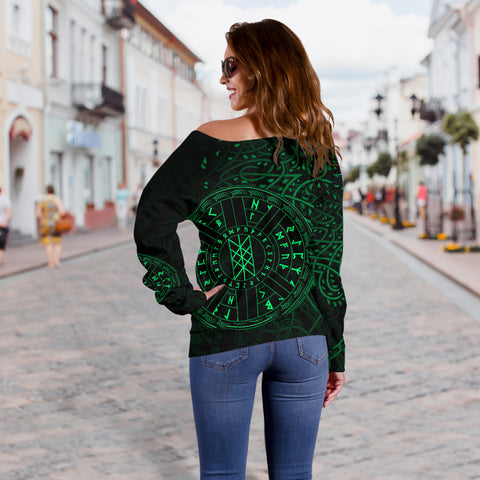 Image of 1stIceland Viking Web Of Wyrd Women Off Shoulder Sweater Yggdrasil - Green K8 - 1st Iceland