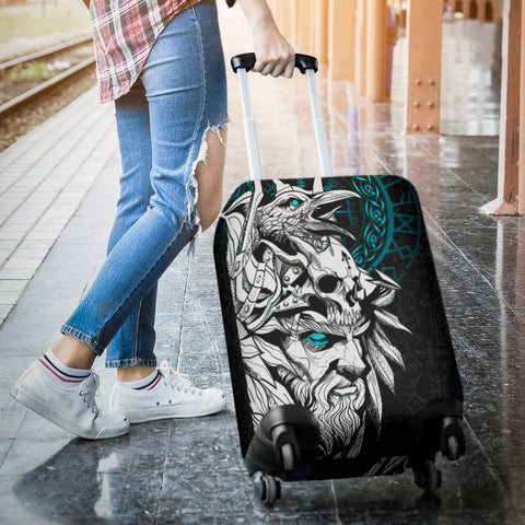 1stIceland Viking Odin And Raven Turquoise Luggage Covers TH12 - 1st Iceland