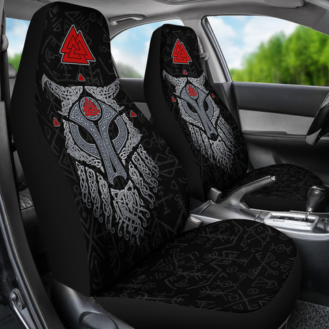 Viking Wolf and Raven Car Seat Covers Valknut Runes K13