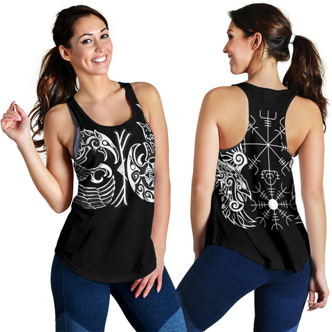 1sticeland Vikings Women's Racerback Tank, Huginn and Muninn The Odin Raven Th00 - 1st Iceland