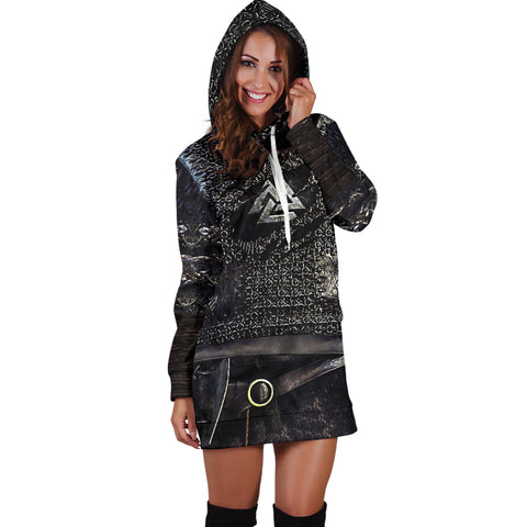 Image of 1stIceland Vikings Hoodie Dress, Valknut 3D Viking Armour Th00 - 1st Iceland