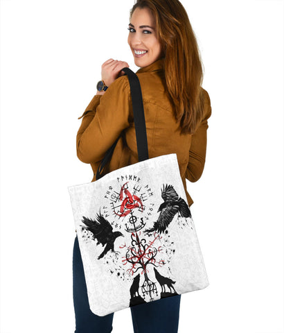 1stIceland Viking Tote Bag, Vegvisir Hugin and Munin with Fenrir Yggdrasil K4