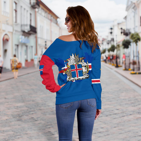 1stIceland Off Shoulder Sweater, Icelandic Horse Flag Coat Of Arms K4 - 1st Iceland