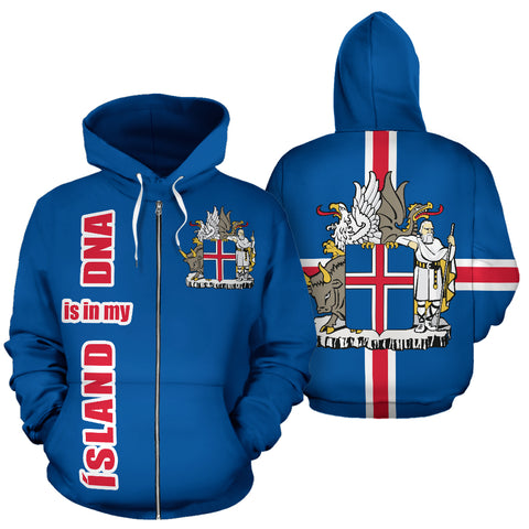 1stIceland Zip Up Hoodie, Ísland Is In My DNA Coat Of Arms K4 - 1st Iceland