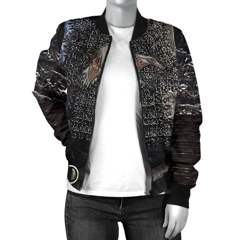 1stIceland Vikings Bomber Jacket for Women , Raven 3D Armour Th00 - 1st Iceland