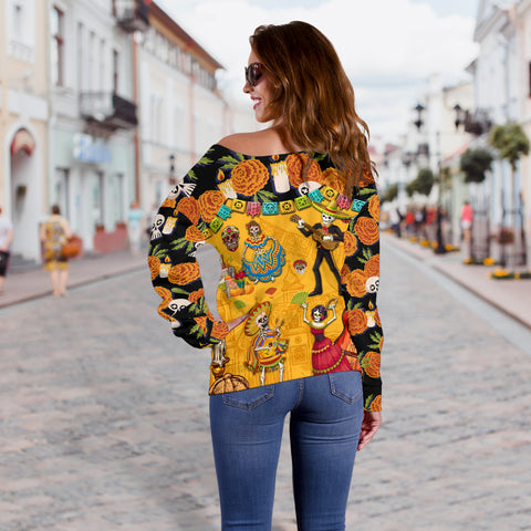 1stIceland Mexican Día de Muertos Women Off Shoulder Sweater Cempasúchil Flowers K8 - 1st Iceland