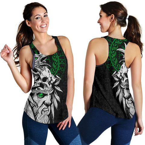 1stIceland Viking Odin And Raven Green Women's Racerback Tank TH12 - 1st Iceland