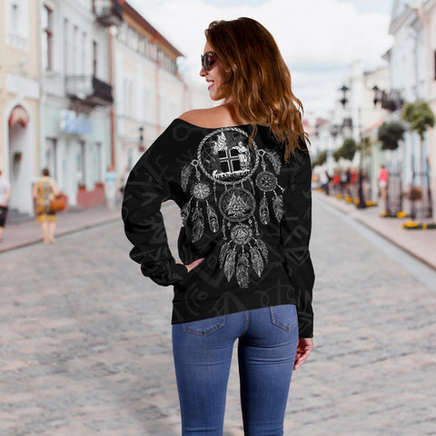 1stIceland Viking Off Shoulder Sweater, Dreamcatcher Iceland Coat Of Arms K4 - 1st Iceland