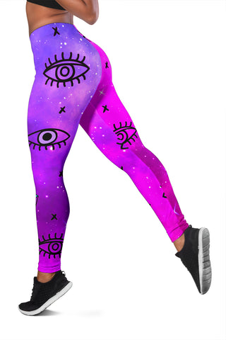1stIceland Evil Eye Women Leggings Simple Style - Pink K8 - 1st Iceland