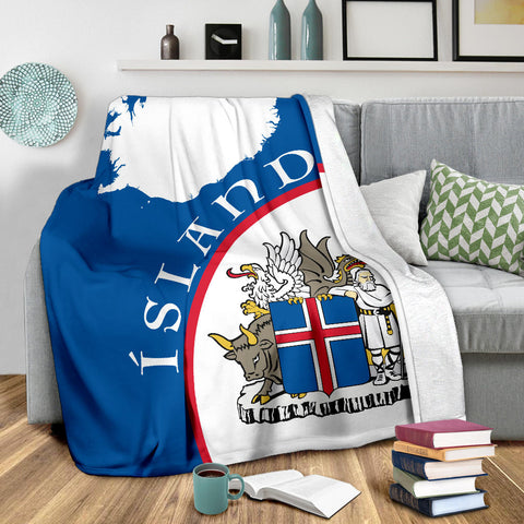 1stIceland Premium Blanket, Ísland Map Coat Of Arms TH0 - 1st Iceland