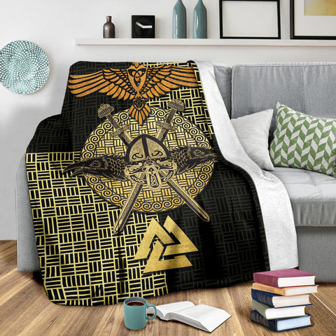 Viking Raven Odin Premium Blanket Gold TH4 - 1st Iceland