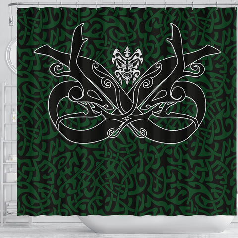 1stIceland Celtic Shower Curtain, Celtics Dragon Tattoo Th00 - Green - 1st Iceland