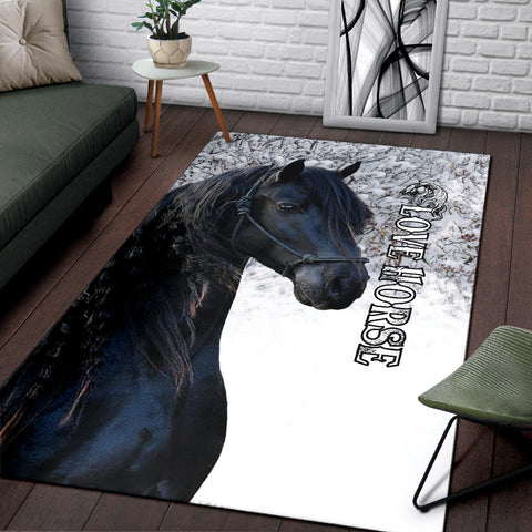 Image of 1stIceland Beautiful Friesian Horse Area Rug TH12 - 1st Iceland