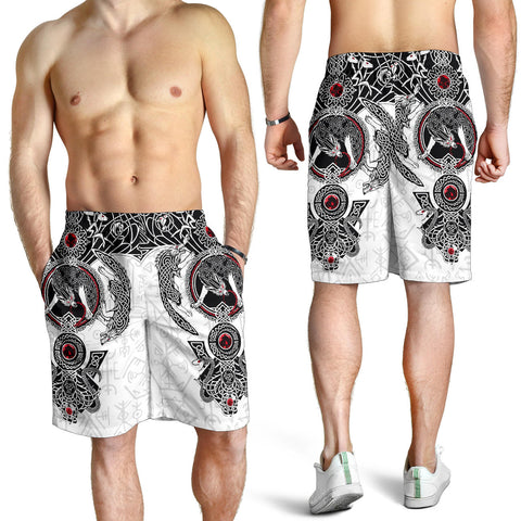 1stIceland Viking Men's Shorts, Fenrir Skoll And Hati Futhark Norse K5 - 1st Iceland