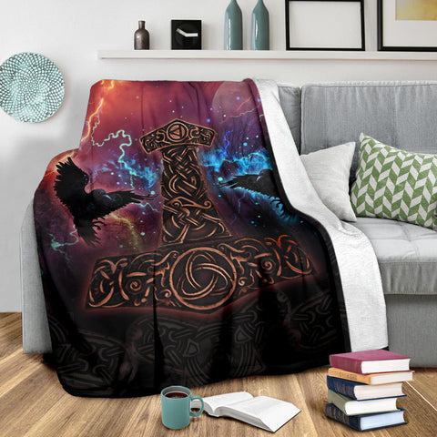 1stIceland Viking Premium Blanket, Mjolnir Huggin And Muninn - 1st Iceland