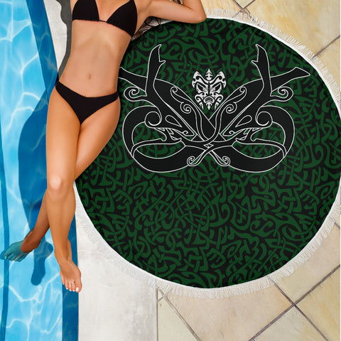 1stIceland Celtic Beach Blanket, Celtics Dragon Tattoo Th00 - Green - 1st Iceland