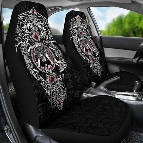 1stIceland Viking Car Seat Covers, Fenrir Skoll And Hati Valknut Raven Black TH00 - 1st Iceland