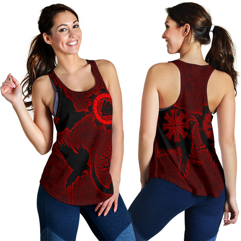 Image of 1stIceland Viking Valknut Huginn and Muninn Women Racerback Tank Yggdrasil, Vegvisir Helm of Awe - Red K8 - 1st Iceland