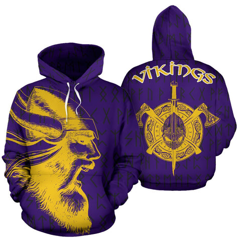 1stIceland Viking Pullover Hoodie, Odin Warrior Viking Helmet Axes TH7 - 1st Iceland