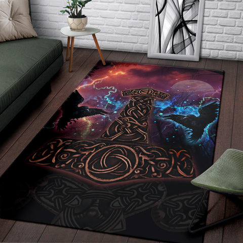 1stIceland Viking Area Rug, Mjolnir Huggin And Muninn - 1st Iceland