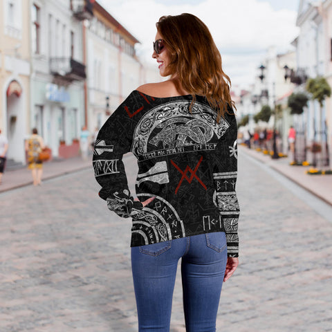 1stIceland Viking Off Shoulder Sweater, Baldur Norse Mythology Tattoo K4 - 1st Iceland