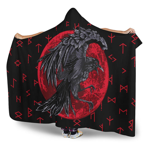 Image of 1stIceland Viking Hooded Blanket , Odin Raven with Blood Moon Th5 - 1st Iceland