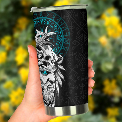 1stIceland Viking Odin And Raven Turquoise Tumbler TH12